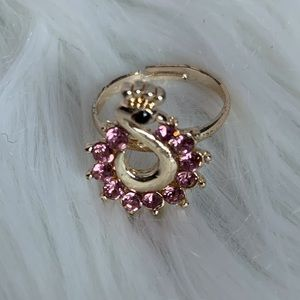 pink jeweled fashion adjustable band ring